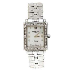 Raymond Weil Mother of Pearl Stainless Steel Diamonds Parsifal  9731 Women's Wristwatch 22 mm
