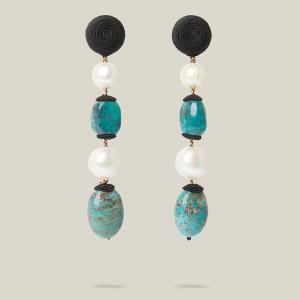 Rebecca de Ravenel Blue Treasures Gem and Pearl Drop Earrings