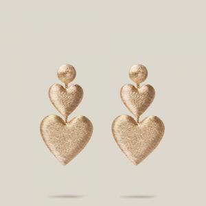 Rebecca de Ravenel Gold Double Heart Rose Gold Drop Earrings