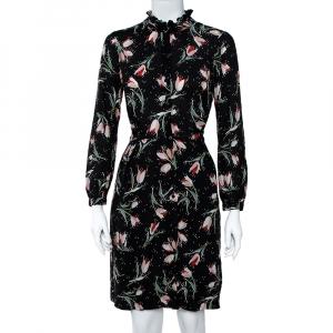 Rebecca Taylor Black Ikat Tulip Print Silk Shirt Dress S - used
