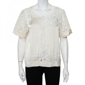 Rebecca Taylor Cream Satin & Lace Paneled Roundneck Top L