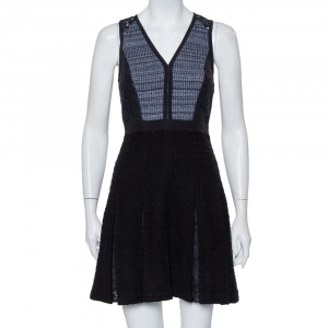 Rebecca Taylor Black Tweed & Lace Pleated Sleeveless Mini Dress S - used