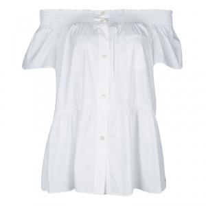 RED Valentino White Smocked Detail Off Shoulder Blouse M