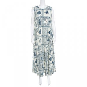 Red Valentino Beige and Blue Heart Printed Stretch Crepe Sleeveless Maxi Dress L