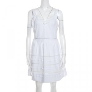RED Valentino White Ladder Lace Insert Sleeveless Mini Dress M