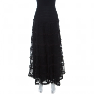 Red Valentino Black Tulle Tiered Ribbon Detailed Skirt L