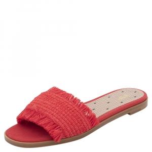 RED Valentino Red Woven Raffia Rednat Slide Sandals Size 39