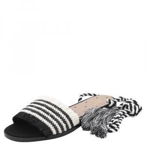 RED Valentino Black/White Woven Raffia Rednat Slide Sandals Size 39
