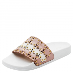 RED Valentino Nude/White Leather Flower Puzzle Slides Size 39