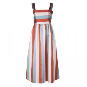 Red Valentino Multicolor Striped Sleeveless Midi Dress S