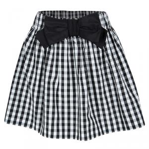 Red Valentino Monochrome Checkered Bow Detail Mini Skirt S