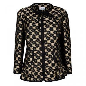 Red Valentino Black Peplum Waist Detail Jacquard Taffeta Jacket XL