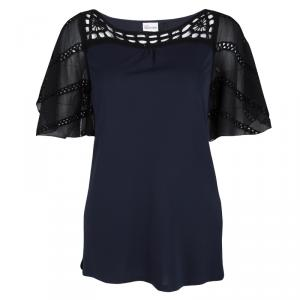Red Valentino Navy Blue Contrast Cutout Sleeve Detail Top M