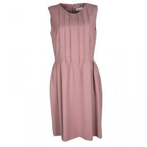 RED Valentino Dull Pink Pleat Detail Sleeveless Dress M