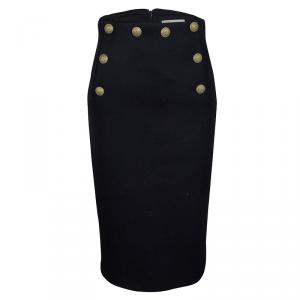 RED Valentino Navy Blue Wool Button Detail high Waist Midi Skirt S