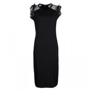 RED Valentino Black Swiss Dot Lace Sleeve Detail Midi Dress L
