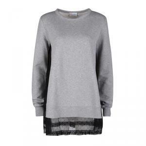 RED Valentino Grey Contrast Lace Tulle Insert Sweatshirt Tunic XS