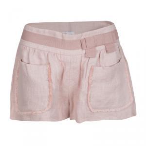 Red Valentino Pink Basket Weave Linen Frayed Pocket Trim Shorts S