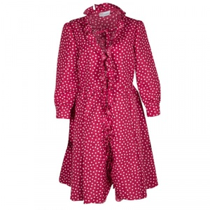 RED Valentino Red and White Polka Dot Ruffle Detail Dress L