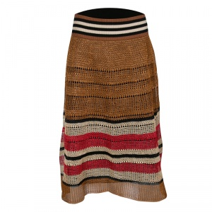 RED Valentino Multicolor Raffia Effect Midi Skirt M