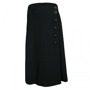 RED Valentino Black Side Button Detail Wrap Midi Skirt M