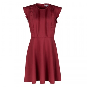 RED Valentino Red Jersey Ruffled Pintuck Detail Fit and Flare Mini Dress M used