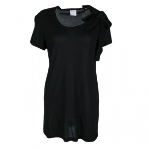 RED Valentino Black Jersey Bow Detail Short Sleeve Top XL