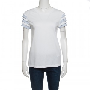 RED Valentino White Cotton Jersey Striped Ruffled Sleeve T-Shirt M - used