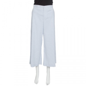 RED Valentino Blue and White Striped Cotton Froisse Wide Leg Pants M