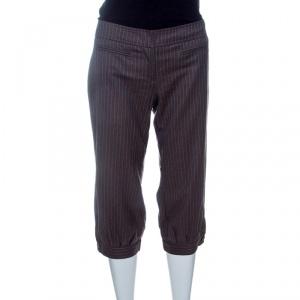 Red Valentino Brown Striped Wool Three Quarter Pants M