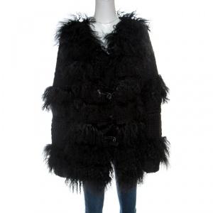 Red Valentino Black Tibet Sheep Fur Detail Wool Coat L