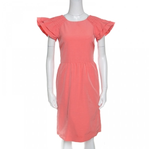 Red Valentino Peach Cotton Blend Smocked Sleeve Detail Sheath Dress S used
