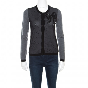 Red Valentino Grey Wool Embellished Mesh Overlay Bow Detail Cardigan S