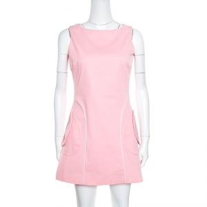 RED Valentino Pink Cotton Contrast Piping Bow Detail Sleeveless Dress M