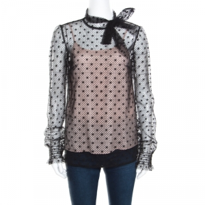 Red Valentino Black Swiss Dotted Tulle Neck Tie Detail Long Sleeve Blouse S