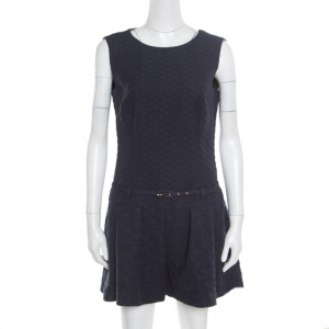 RED Valentino Navy Blue Jacquard Sleeveless Belted Playsuit M
