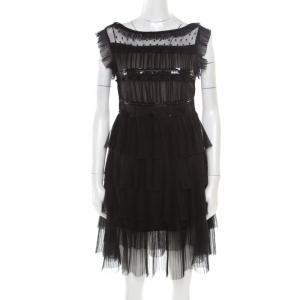 RED Valentino Black Tulle Embellished Sheer Yoke Detail Plisse Tiered Dress S used