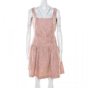 Red Valentino Pink and White Textured Drop Waist Sleeveless Dress M used