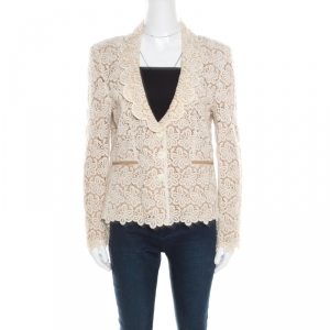 RED Valentino Beige and Cream Cutout Floral Embroidered Blazer L