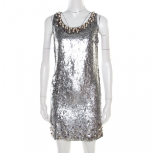 Red Valentino Silver Sequined Pearl Embellished Sleeveless Mini Shift Dress S used