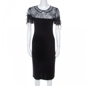 RED Valentino Black Wool Jersey Floral Lace Trim Midi Dress S used