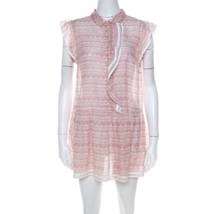 Red Valentino Pale Pink Cotton Ruffled Detail Short Dress M - used