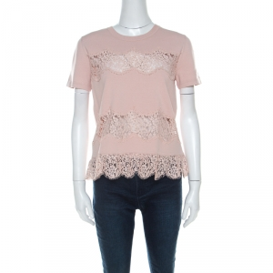 RED Valentino Blush Pink Knit Sheer Lace Paneled Crew Neck Top M