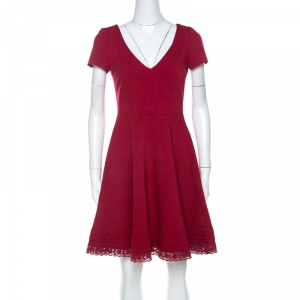 RED Valentino Red Jersey V-Neck Fit & Flare Dress M