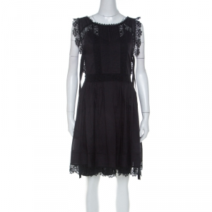 RED Valentino Black Cotton Pintucked Lace Trim Dress M