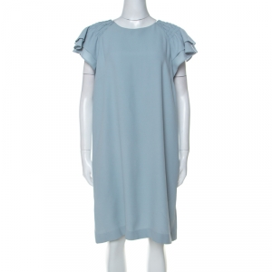 Red Valentino Pale Blue Crepe Ruffled Sleeve Shift Dress L - used