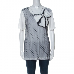 RED Valentino White Contrast Mesh Bow Detail T-Shirt XL
