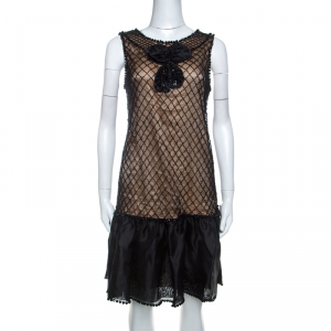 Red Valentino Black Beaded Lace and Silk Ruffle Detail Short Dress L - used