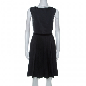 RED Valentino Black Pleated Lace Skirt Detail Sleeveless Dress L - used