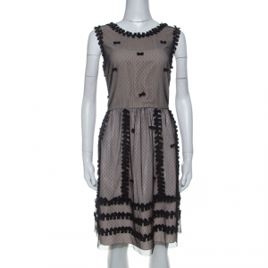 RED Valentino Beige Crepe and Taffeta Contrast Lace Overlay Dress L - used